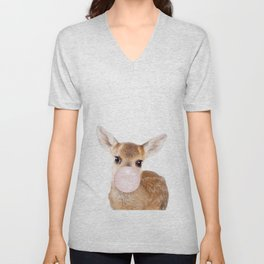 Bubble Gum Baby Deer Unisex V-Neck