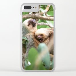 Yawning Baby Sloth Clear iPhone Case