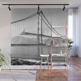 Construction of the Golden Gate Bridge, 1935, San Francisco Bay black and white photograph Wall Mural