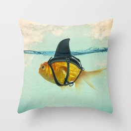 Brilliant DISGUISE - Goldfish with a Shark Fin Throw Pillow