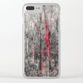 Selective Colour Treatment- Red Leaves Wrap Around Tree Branches Clear iPhone Case