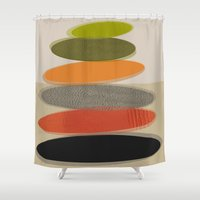 mid century modern Shower Curtains featuring Mid-Century Modern Ovals Abstract by Kippygirl
