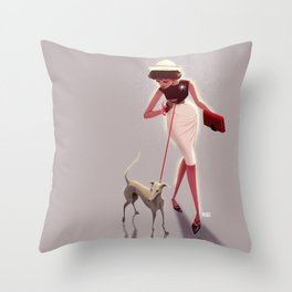 50s dogwalker  Throw Pillow