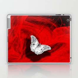Silver butterfly emerging from the red depths Laptop & iPad Skin