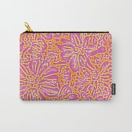 Marigold Lino Cut, Batik Pink And Orange Carry-All Pouch