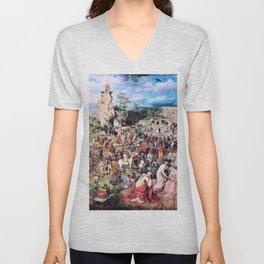 Pieter Bruegel - The Procession To Calvary - Digital Remastered Edition Unisex V-Neck