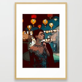 Lady with lace body dress with lanterns on the background Framed Art Print