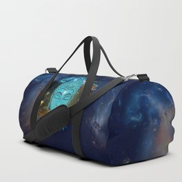 Blue Face of Buddha in the Galaxy Duffle Bag