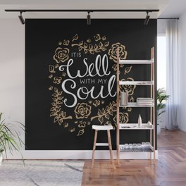 It is Well Floral Script Wall Mural