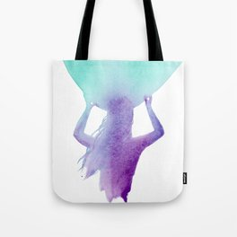 Surfer Girl Heading Out, Surf Art, Surfboard in Purple and Blue Tote Bag