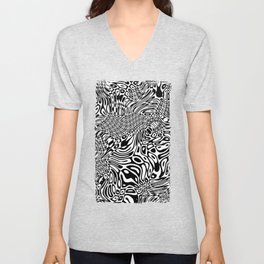 Black  and white psychedelic optical illusion Unisex V-Neck