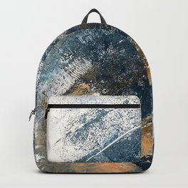 Wander [4]: a vibrant, colorful, abstract in blues, white, and gold Backpack