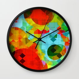 geometric square pixel and circle pattern abstract in red blue yellow Wall Clock