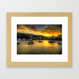 Sunset over Ilfracombe Harbour  Framed Art Print