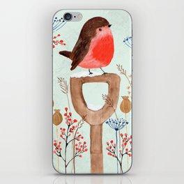 Robin in a Winter Garden iPhone Skin
