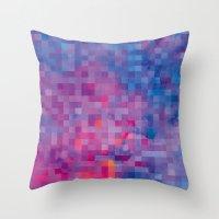 pixel Throw Pillows featuring Pixel by Marta Olga Klara