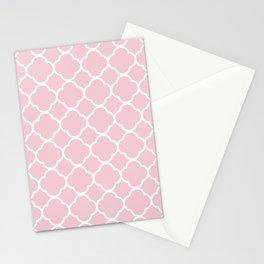 Quatrefoil Shape (Quatrefoil Tiles) - Pink White Stationery Cards
