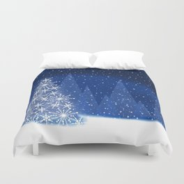 Snowy Night Christmas Tree Holiday Design Duvet Cover