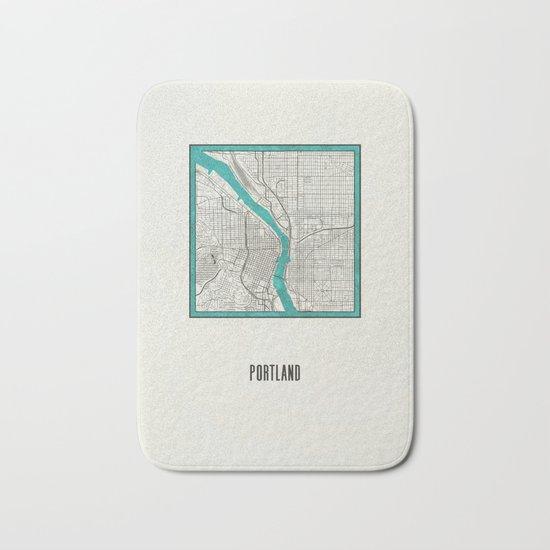 Portland Metallic Inlay Map Bath Mat