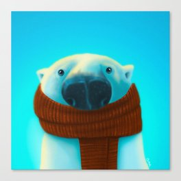 Polar bear with scarf Canvas Print