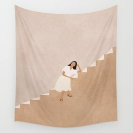 Girl Thinking on a Stairway Wall Tapestry