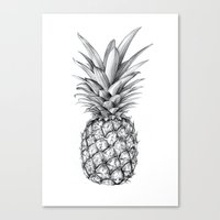 pinapple Canvas Prints featuring Pineapple by Sibling & Co.