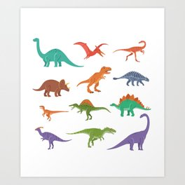 Dinosaur identificacion design Gift Types of dinosaurs graphic Art Print