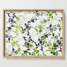 Branches and Leaves in Cobalt Grey and Green Serving Tray