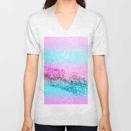 Unicorn Girls Glitter #16 #shiny #decor #art #society6 Unisex V-Neck