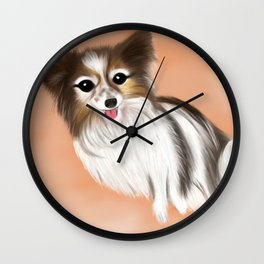 James Blonde - a Cannes celebrity papillon dog Wall Clock