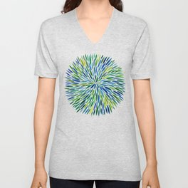 Watercolor Burst – Blue & Green Unisex V-Neck