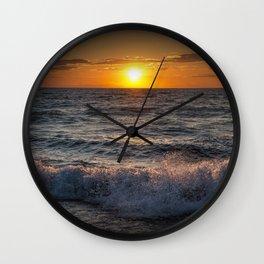Lake Michigan Sunset with Crashing Shore Waves Wall Clock