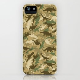 Camouflage Dinosaur Print Olive Green Khaki Tan iPhone Case