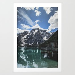 A magnificent morning at an Italian lake in the Dolomites. Art Print