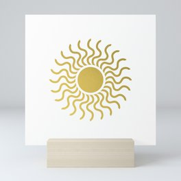 Sun in Splendour Gold on White Mini Art Print