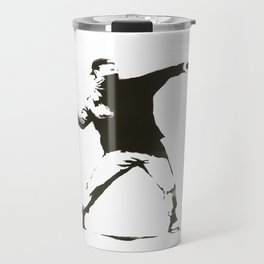Banksy - Man Throwing Flowers - Antifa vs Police Manifestation Design For Men, Women, Poster Travel Mug