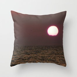 Purple Sunset Over the Sea Throw Pillow