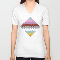 quilt V-neck T-shirts featuring Map Quilt by Project M