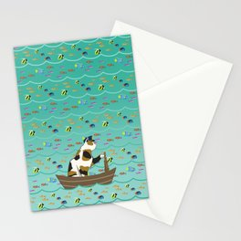 Captain Cat in seafoam Stationery Cards