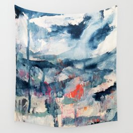 Before the Storm - an abstract acrylic and ink piece in blues, white, pink, and red Wall Tapestry
