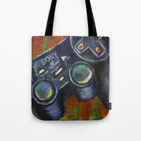 playstation Tote Bags featuring Playstation  by Megan Bailey Gill