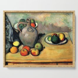 """Paul Cezanne """"Still life, jug and fruit on a table"""" Serving Tray"""