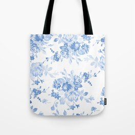 Modern navy blue white watercolor elegant floral Tote Bag