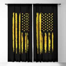 Gold grunge american flag Blackout Curtain