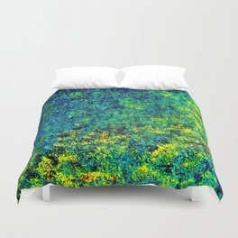 Abstract Flowers yellow and green Duvet Cover