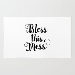 Bless This Mess black-white typography poster black and white design bedroom wall home decor canvas Rug