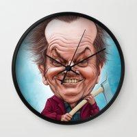 jack nicholson Wall Clocks featuring Jack Nicholson caricature by Jordygraph
