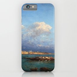 View of Hagia Sophia & Constantinople from the Marmara Sea maritime coastal landscape by Felix Ziem iPhone Case