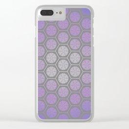 Hexagonal Dreams - Purple Blue Gradient Clear iPhone Case