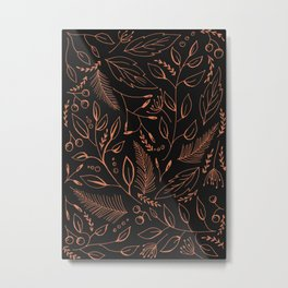 Holiday Pattern in black background and rose leaves Metal Print